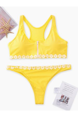 YOINS Front Zip Scoop Neck Lace Applique Bikini Set