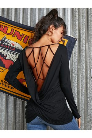 YOINS Black Backless Design Twisted Criss-cross Long Sleeves Tee