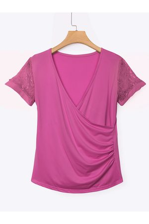 YOINS Rose Low Cut V-neck Wrap Front Lace Insert Blouse