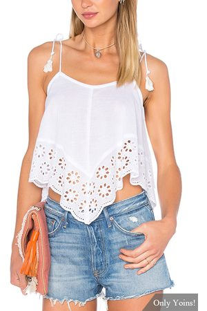 YOINS Crochet Trim Shoulder Tie With Tassel Camis