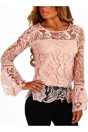 YOINS Women Long Sleeve - See-through Lace Round Neck Long Sleeves Sexy Top