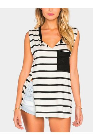 YOINS Black and White Stripe V-neck Side Slit Sleeveless Top with Chest Pocket