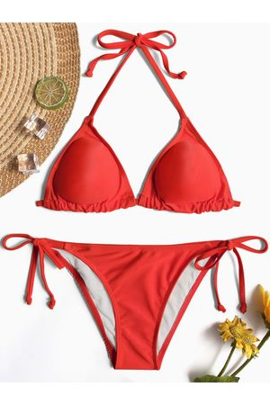 YOINS Halter V-neck Tie-up Design Bikini