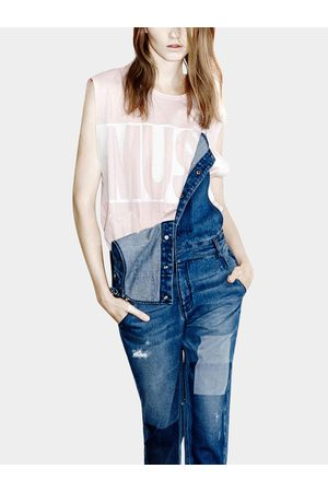 YOINS Distressed Fell Length Denim Dungaree