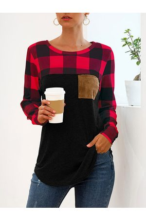 YOINS Pocket Design Plaid Splice Round Neck Long Sleeves Tee
