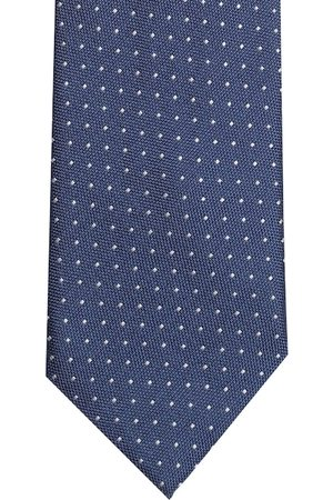 Lino Perros Navy Blue & Off-White Woven Design Broad Tie