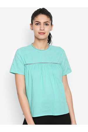 Oxolloxo Women Green Self Design A-Line Top