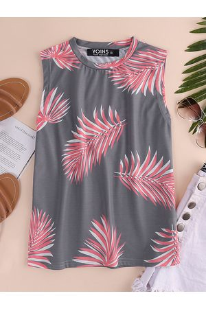 YOINS Leaf Print Round Neck Sleeveless Top