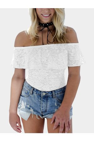 YOINS Off-The-Shoulder Overlay Lace Bodysuit