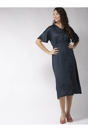 Sera Women Navy Blue Solid Fit and Flare Dress