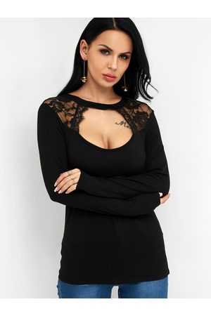 YOINS Lace Cut Out Crew Neck Long Sleeves T-shirt