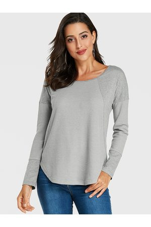 YOINS Patch Round Neck Long Sleeves Tee