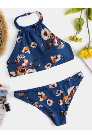 YOINS Dark Backless Design Floral Print Choker Neck Bikini