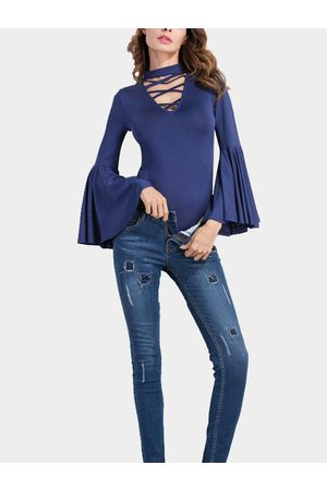 YOINS Sexy High Neck Lace-up Front Flared Sleeves Bodysuits
