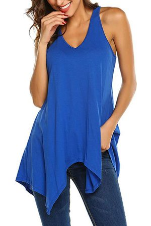 YOINS V-neck Sleeveless Irregular Hem Tank Top