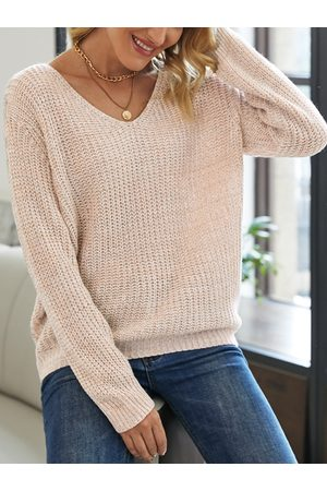 YOINS Casual V-neck Long Sleeves Sweater