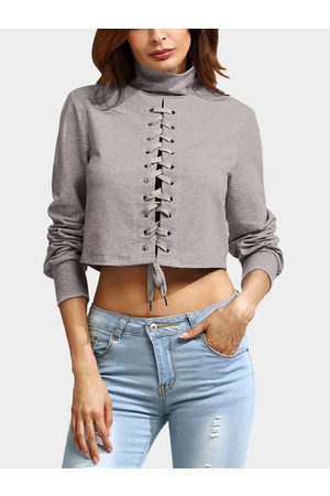 YOINS High Neck Lace-up Cross Front Crop Top