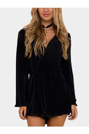 YOINS Pleated Flared Sleeve Cross Over Bust Curled Detail Playsuit
