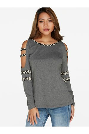 YOINS Leopard Cold Shoulder Long Sleeves T-shirts