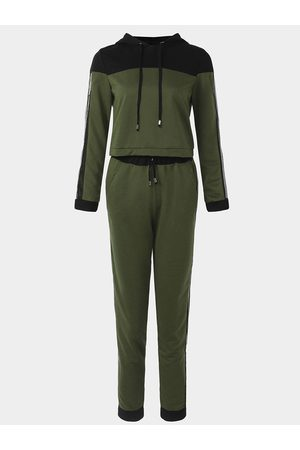 YOINS Women Tracksuits - Active Net Yarn Hooded Design Tracksuit in