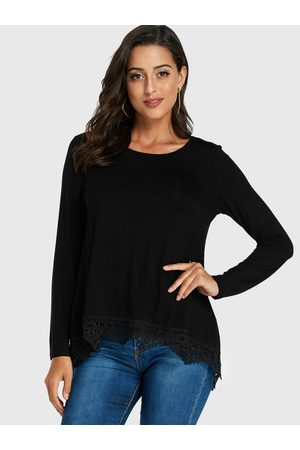 YOINS Crochet Lace Embellished Long Sleeves Tee