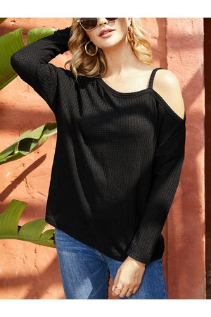 YOINS Black Cold Shoulder Long Sleeves Knit Tee