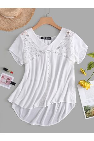 YOINS Women Shirts - V-neck Hollow Design Lace Insert Blouse