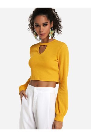 YOINS Hollow Front Design Crew Neck Long Sleeves Cropped Tee