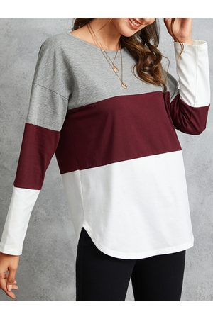 YOINS Multicolor Striped Round Neck Long Sleeves Tee