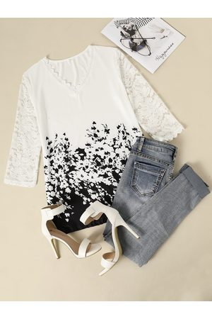 YOINS White Lace Patchwork Print V-neck Half Sleeves Top