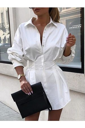 YOINS White Front Button Ruched Classic Collar Long Sleeves Shirt Dress
