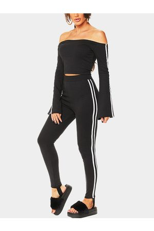 YOINS Active Off Shoulder Stripe Pattern Tracksuit in