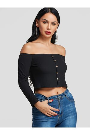 YOINS Off The Shoulder Knitted Crop Top