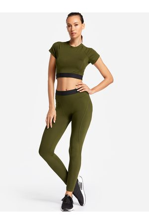 YOINS Plain Crew Neck Short Sleeves High-waisted Tracksuit