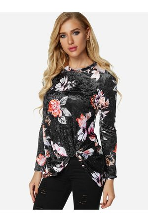 YOINS Crossed Front Design Plain Round Neck Long Sleeves Floral Velvet T-shirts
