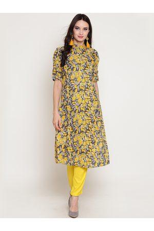 Sera Women Yellow & Grey Printed Straight Kurta