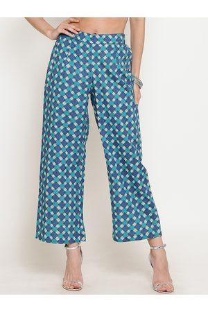 Sera Women Blue & Green Printed Wide Leg Palazzos
