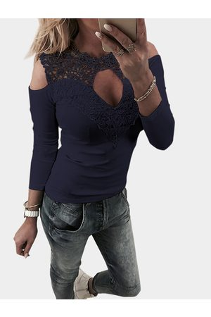 YOINS Cut Out Lace Insert Cold Shoulder Long Sleeves Top