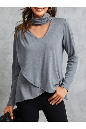 YOINS Grey Criss-Cross Cut Out Halter Long Sleeves Top