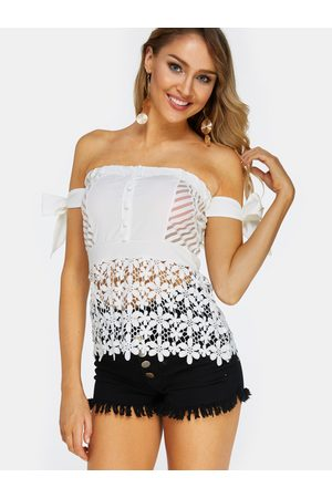 YOINS Lace Off The Shoulder Sleeveless Blouses