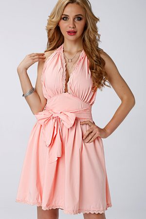 YOINS Halter Neck Backless Lace Insert Dress with Bowknot