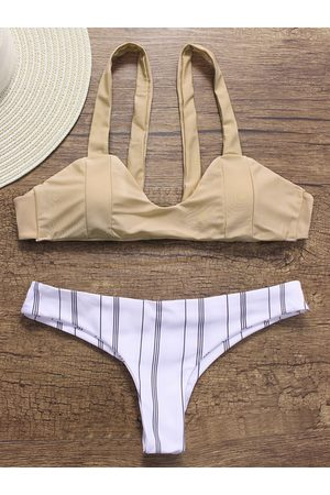 YOINS Apricot Scoop Neck Sleeveless Bikini