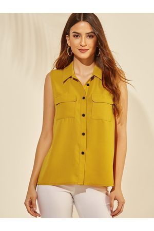 YOINS Classic Collar Pockets Front Button Tank Top
