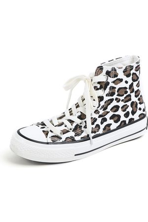 YOINS Lace-up Leopard Pattern Canvas Boots