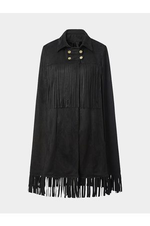 YOINS Suede Cape with Fringed Detail