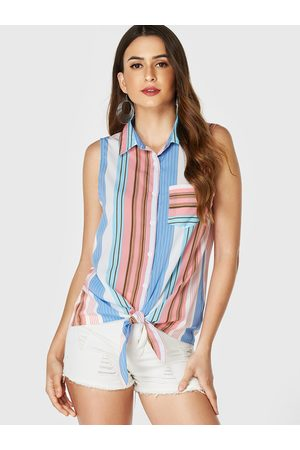 YOINS Side Stripe Pocket Design Revere Collar Tank Top