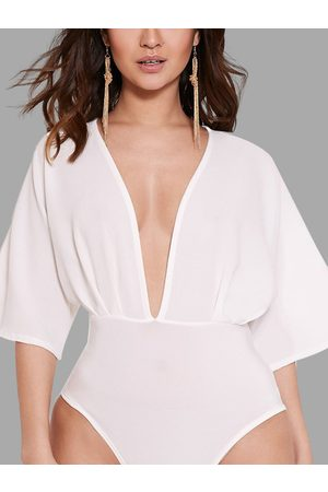 YOINS Plunge V-neck Split Sleeves Bodysuit