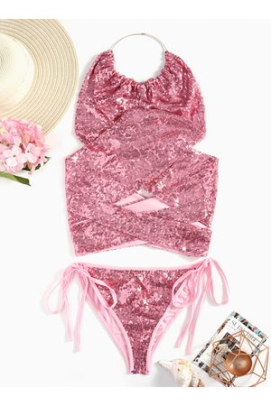 YOINS Sexy Halter Neck Lace-up Sequins Bikini Set