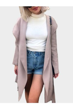 YOINS Lotus Color Lapel Collar Trench Coat with Belt