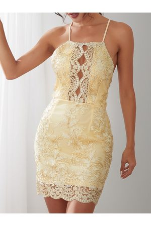 YOINS Thread Embroidered Hollow Out Halter Neck Backless Dress in